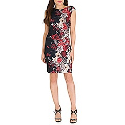 Amaya - Navy floral print wrap effect dress