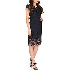 Amaya - Navy cap sleeve lace dress