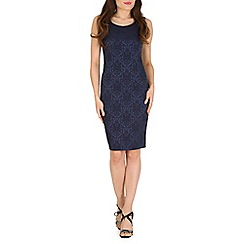 Amaya - Navy jacquard shift dress