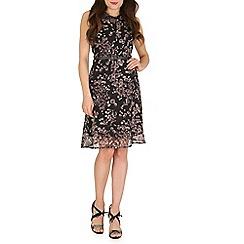 Amaya - Grey floral print dress with belt