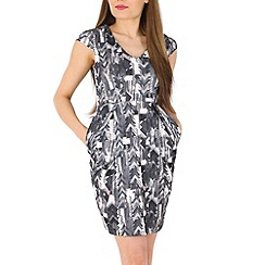 Voulez Vous - Grey pleated v-neck abstract dress
