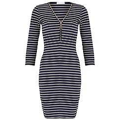 Blue Vanilla - Navy striped zip dress