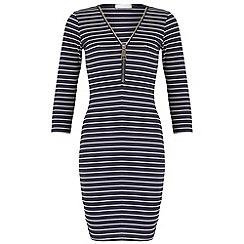 Blue Vanilla - Navy striped zip dress