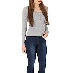 Blue Vanilla - Grey zip neck long sleeve jumper
