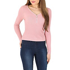 Blue Vanilla - Pink zip neck long sleeve jumper