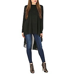 Blue Vanilla - Black chiffion back high low tunic