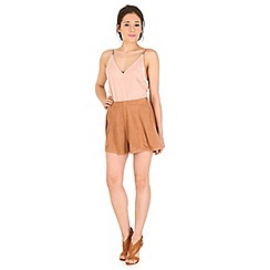 Madam Rage - Light brown suede cullotte shorts