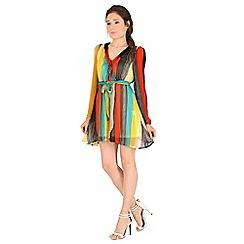 Madam Rage - Multicoloured striped wrapped dress