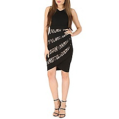 Izabel London - Black lace finish bodycon dress