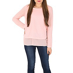 Izabel London - Pink layered textured top
