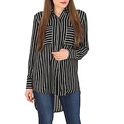 Izabel London - Black striped pocket shirt