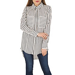 Izabel London - White striped pocket shirt
