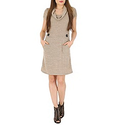 Izabel London - Beige knitted aztec print dress