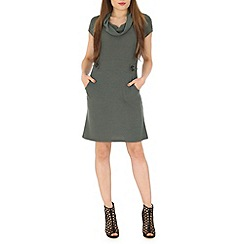 Izabel London - Olive knitted aztec print dress