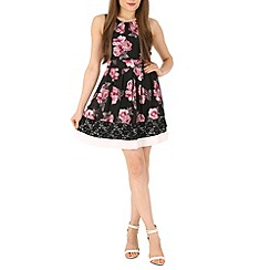 Izabel London - Pink floral print lace trim dress