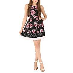 Izabel London - Pink floral print lace trim dress
