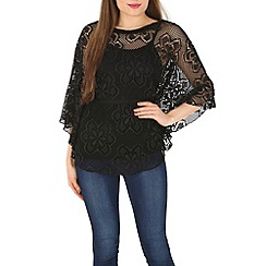 Izabel London - Black batwing floral top