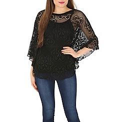 Izabel London - Black batwing floral top