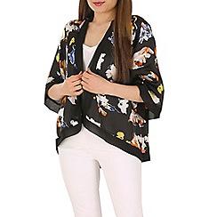 Mela - Black flower print kimono