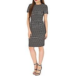 Poppy Lux - Black orleans striped shift dress