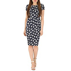 Poppy Lux - Navy serital rose dot shift dress