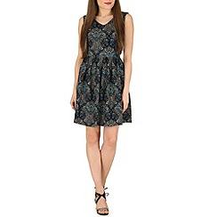 Tenki - Turquoise paisley print pleated dress