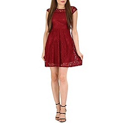 Tenki - Maroon laced pleated dress