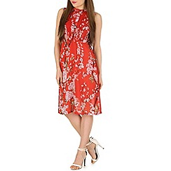 Tenki - Red flower print midi dress