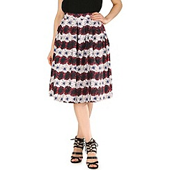 Tenki - Purple stripe flower print skater skirt