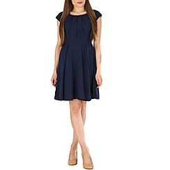 Voulez Vous - Navy pleat neck fare dress