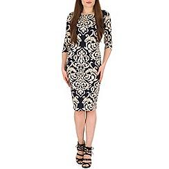 Voulez Vous - Navy baroque lace print 3/4 sleeve dress