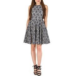 Voulez Vous - Blue floral lace mesh stripe skater dress