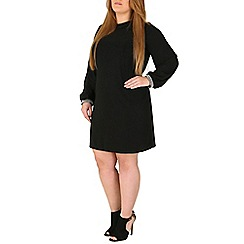 Emily - Black jewelled cuff collar dress