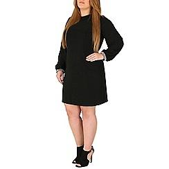 Emily - Black jewelled cuff collar dress