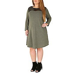 Emily - Khaki jersey knitted dress