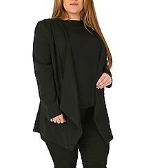 Emily - Black waterfall zip detail jacket