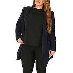 Emily - Navy waterfall zip detail jacket