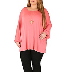 Emily - Pink oversize jersey batwing top