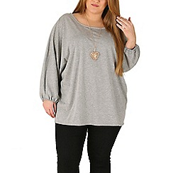 Emily - Grey oversize jersey batwing top