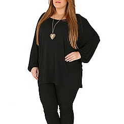 Emily - Black oversize jersey batwing top