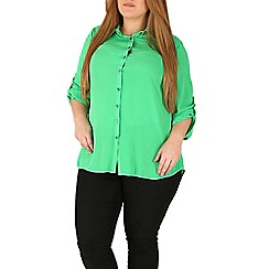 Emily - Green roll sleeve silky chiffon shirt