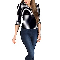 Blue Vanilla - Navy striped 3/4 sleeve zip top