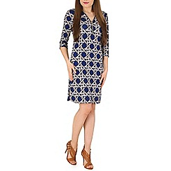 Izabel London - Blue 3/4 sleeve geometric print zip dress