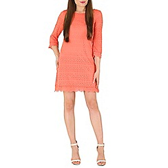 Izabel London - Peach lace dress with 3/4 sleeves