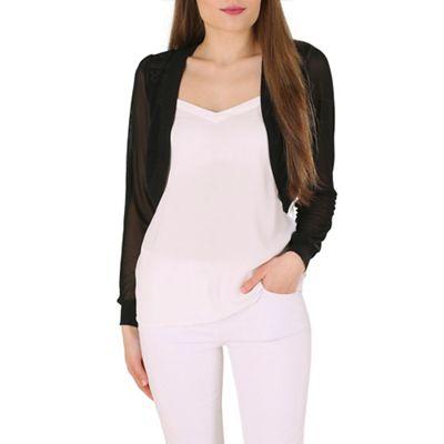 Izabel London Black long sleeve shrug knitwear cardigan