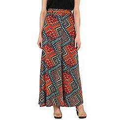 Izabel London - Multicoloured long aztec print skirt