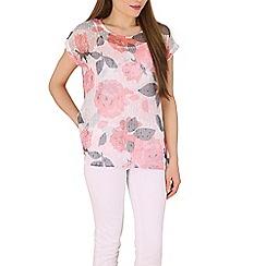 Izabel London - Multicoloured polyester short sleeve floral print top