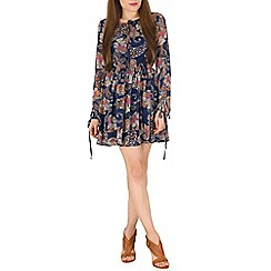 Mela - Blue Paisley Print Dress