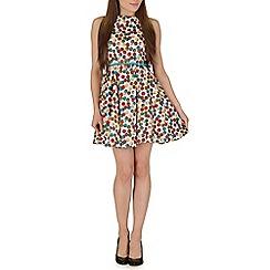 Izabel London - White polka dot skater dress