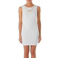 Zibi London - White sleeveless shift dress with necklace